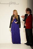 Rachel Zoe Supima President Jesse Curlee and Vice President of Marketing Buxton Midyette speak on the runway at the Supima Spring 2014 fashion show...