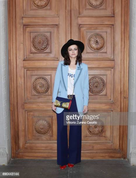 Rachele Bastreghi arrives at the Gucci Cruise 2018 fashion show at Palazzo Pitti on May 29 2017 in Florence Italy