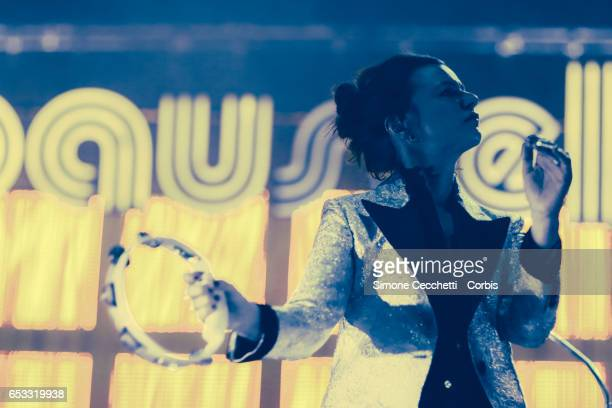 Rachele Bastreghi of Baustelle performs on stage on March 13 2017 in Rome Italy