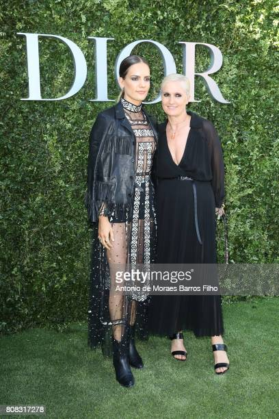 Rachele Regini and Maria Grazia Chiuri attend 'Christian Dior couturier du reve' Exhibition Launch celebrating 70 years of creation at Musee Des Arts...