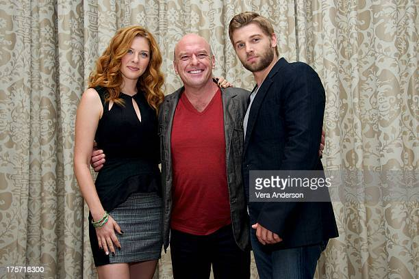 Rachelle Lefevre Dean Norris and Mike Vogel at the 'Under The Dome' Press Conference at the Four Seasons Hotel on August 5 2013 in Beverly Hills...