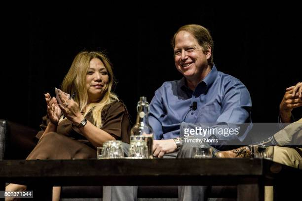 Rachelle Reyes Wenger and Dr Mark Gold D Env speak during Climate Day LA at The Theatre at Ace Hotel on June 27 2017 in Los Angeles California