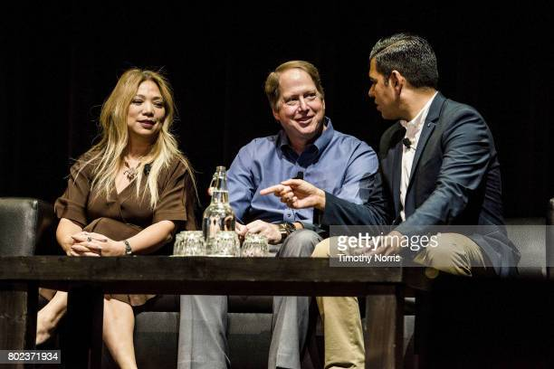 Rachelle Reyes Wenger Dr Mark Gold D Env and Long Beach mayor Robert Garcia speak during Climate Day LA at The Theatre at Ace Hotel on June 27 2017...