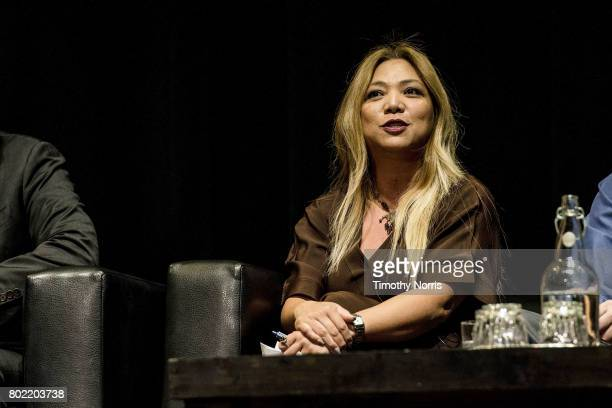 Rachelle Reyes Wenger of Dignity Health speaks during Climate Day LA at The Theatre at Ace Hotel on June 27 2017 in Los Angeles California