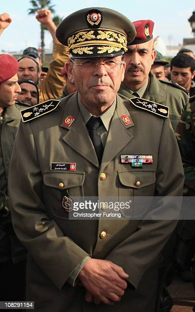 Rachid Ammar The Chief of the General Staff of the Tunisian Army addresses protesters at the City Hall monument near the prime ministers office on...