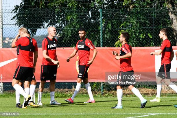 Rachid Ghezzal and Andrea Raggi of Monaco during training session of As Monaco on August 11 2017 in Monaco Monaco