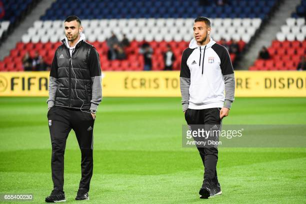 Rachid Ghezzal and Corentin Tolisso of Lyon during the French Ligue 1 match between Paris Saint Germain and Lyon at Parc des Princes on March 19 2017...