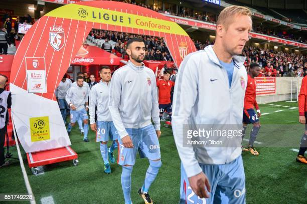 Rachid Ghezzal and Kamil Glik of Monaco during the Ligue 1 match between Lille OSC and AS Monaco at Stade Pierre Mauroy on September 22 2017 in Lille