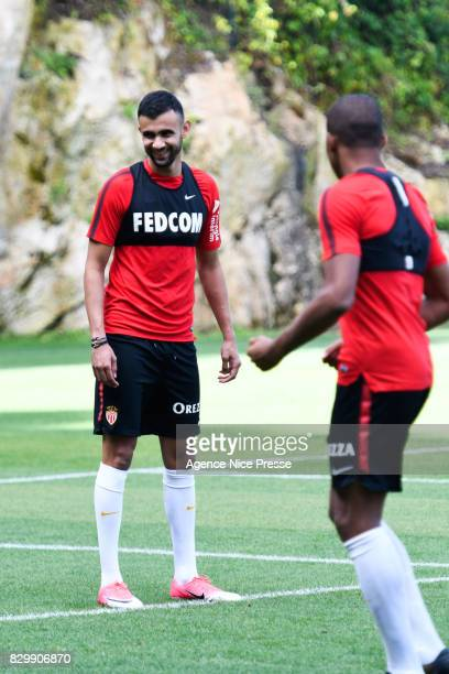 Rachid Ghezzal and Kylian Mbappe of Monaco during training session of As Monaco on August 11 2017 in Monaco Monaco