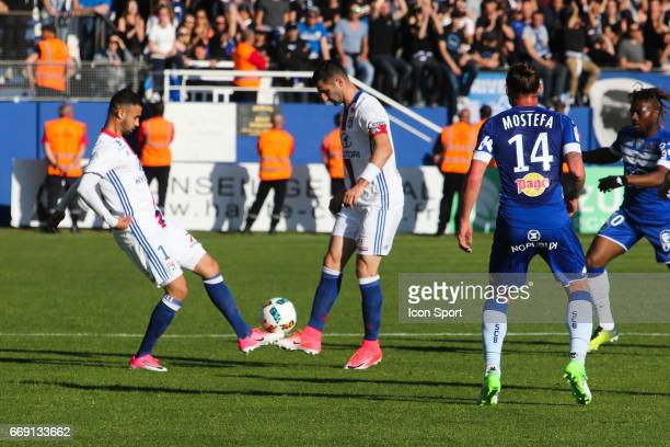 Rachid Ghezzal and Maxime Gonalons of Lyon during the Ligue 1 match between SC Bastia and Olympique Lyonnais Lyon at Stade Armand Cesari on April 16...