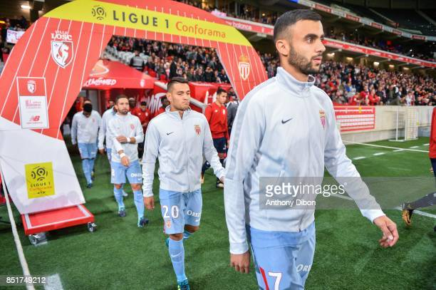 Rachid Ghezzal and Rony Lopes of Monaco during the Ligue 1 match between Lille OSC and AS Monaco at Stade Pierre Mauroy on September 22 2017 in Lille