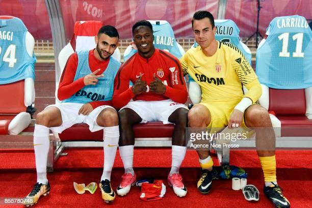 Rachid Ghezzal Keita Balde and Diego Benaglio of Monaco during the Ligue 1 match between AS Monaco and Montpellier Herault SC at Stade Louis II on...