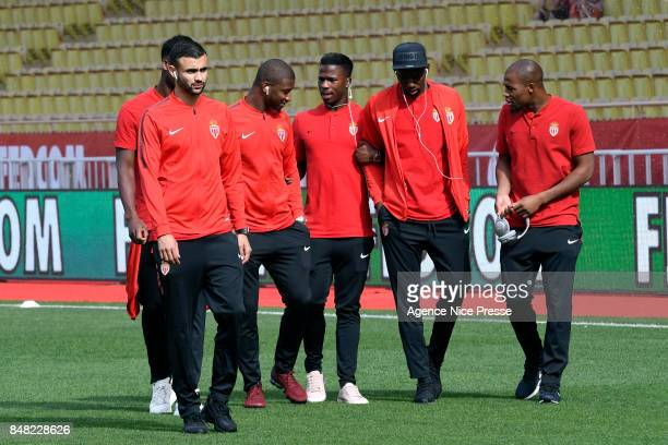 Rachid Ghezzal Meite Soualiho Balde Keita Almamy Toure and Djibril Sidibe of Monaco during the Ligue 1 match between AS Monaco and Strasbourg at...