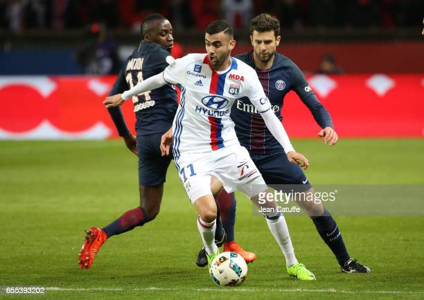 Rachid Ghezzal of Lyon Blaise Matuidi and Thiago Motta of PSG in action during the French Ligue 1 match between Paris SaintGermain and Olympique...