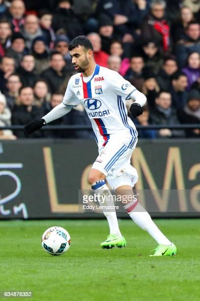 Rachid Ghezzal of Lyon during the Ligue 1 match between En Avant Guingamp and Olympique Lyonnais Lyon at Stade du Roudourou on February 11 2017 in...