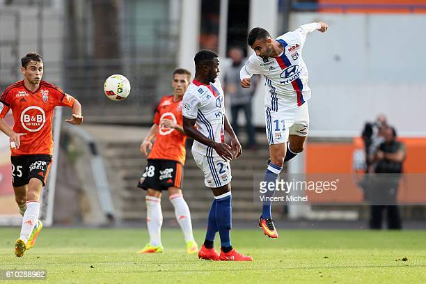 Rachid Ghezzal of Lyon during the Ligue 1 match between FC Lorient and Olympique Lyonnais at Stade du Moustoir on September 24 2016 in Lorient France
