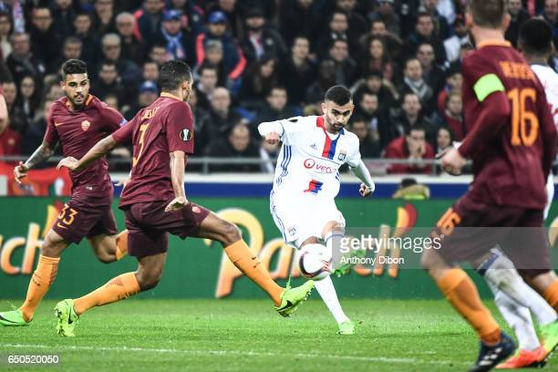 Rachid Ghezzal of Lyon during the Uefa Europa League Round of 16 first leg match between Olympique Lyonnais Lyon and As Roma at Stade des Lumieres on...