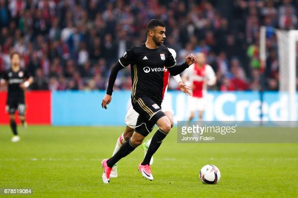 Rachid Ghezzal of Lyon during the Uefa Europa League semi final first leg match between Ajax Amsterdam and Olympique Lyonnais at Amsterdam Arena on...