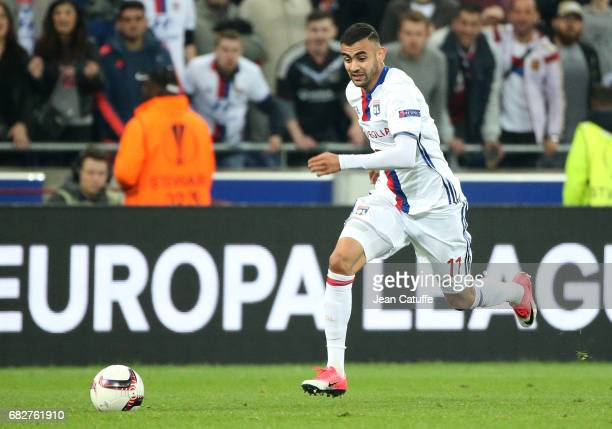 Rachid Ghezzal of Lyon during the UEFA Europa League semi final second leg match between Olympique Lyonnais and Ajax Amsterdam at Parc OL on May 11...