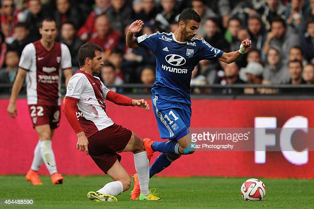 Rachid Ghezzal of Lyon in action during the French Ligue 1 match between FC Metz and Olympique Lyonnais at Stade SaintSymphorien on August 31 2014 in...