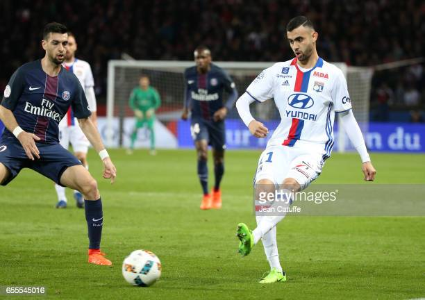 Rachid Ghezzal of Lyon in action during the French Ligue 1 match between Paris SaintGermain and Olympique Lyonnais at Parc des Princes stadium on...