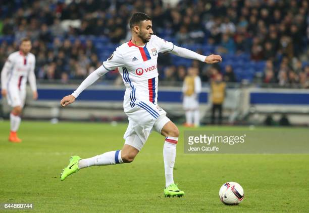 Rachid Ghezzal of Lyon in action during the UEFA Europa League Round of 32 second leg match between Olympique Lyonnais and AZ Alkmaar at Parc OL on...