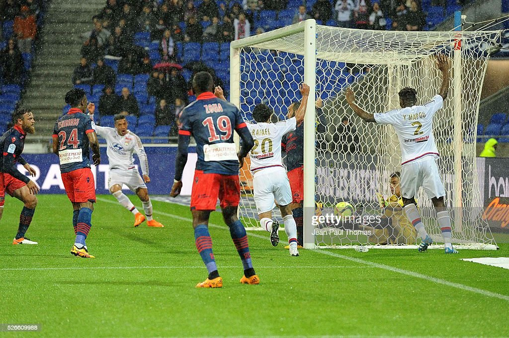 Rachid GHEZZAL of lyon scores a goal during the French Ligue 1 match between Olympique Lyonnais and Gazelec GFC Ajaccio at Stade des Lumieres on April 30, 2016 in Lyon, France.