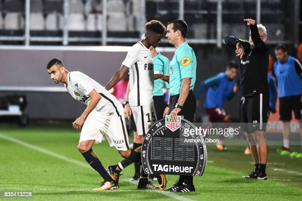 Rachid Ghezzal of Monaco and Adama Diakhaby during the Ligue 1 match between FC Metz and AS Monaco on August 18 2017 in Metz