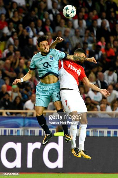 Rachid Ghezzal of Monaco and Alex Telles of Porto during the Uefa Champions League match between As Monaco and Fc Porto on September 26 2017 in...