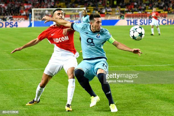 Rachid Ghezzal of Monaco and Hector Herrera of Porto during the Uefa Champions League match between As Monaco and Fc Porto on September 26 2017 in...