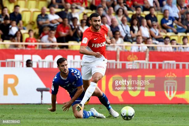 Rachid Ghezzal of Monaco and Pablo Martinez of Strasbourg during the Ligue 1 match between AS Monaco and Strasbourg at Stade Louis II on September 16...