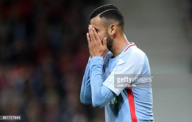 Rachid Ghezzal of Monaco celebrates his goal during the French Ligue 1 match between Lille OSC and AS Monaco at Stade Pierre Mauroy on September 22...
