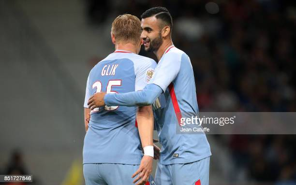 Rachid Ghezzal of Monaco celebrates his goal with Kamil Glik during the French Ligue 1 match between Lille OSC and AS Monaco at Stade Pierre Mauroy...