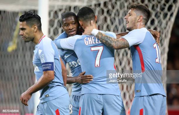 Rachid Ghezzal of Monaco celebrates his goal with Radamel Falcao Almamy Toure Stevan Jovetic during the French Ligue 1 match between Lille OSC and AS...