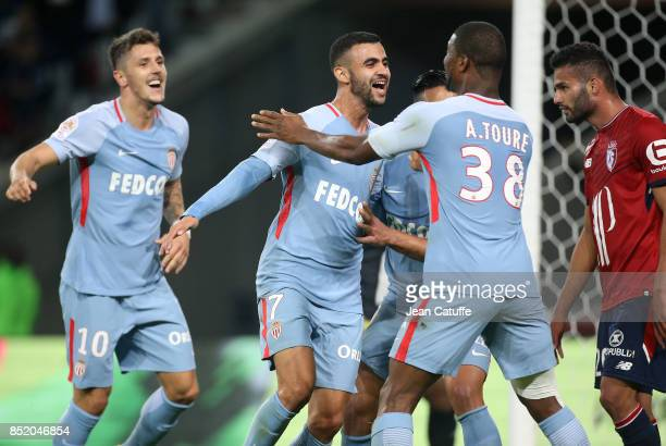 Rachid Ghezzal of Monaco celebrates his goal with Stevan Jovetic Almamy Toure during the French Ligue 1 match between Lille OSC and AS Monaco at...