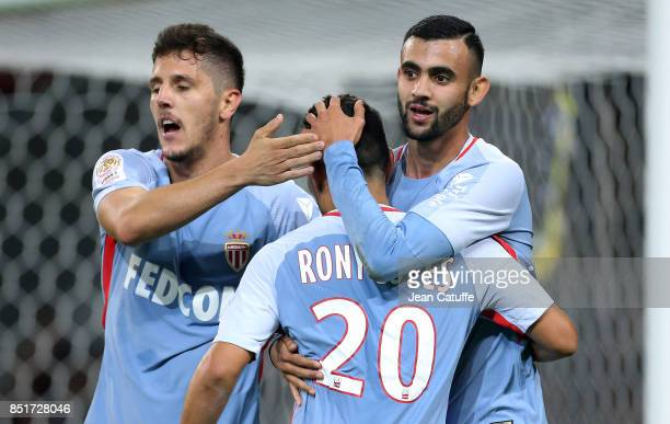 Rachid Ghezzal of Monaco celebrates his goal with Stevan Jovetic Rony Lopes during the French Ligue 1 match between Lille OSC and AS Monaco at Stade...