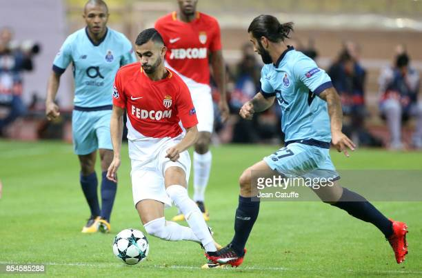 Rachid Ghezzal of Monaco Sergio Oliveira of FC Porto during the UEFA Champions League group G match between AS Monaco and FC Porto at Stade Louis II...