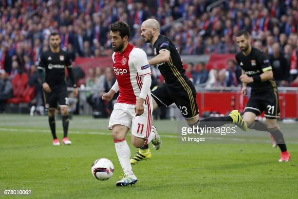 Rachid Ghezzal of Olympique Lyonnais Amin Younes of Ajax Christophe Jallet of Olympique Lyonnais Maxime Gonalons of Olympique Lyonnaisduring the UEFA...