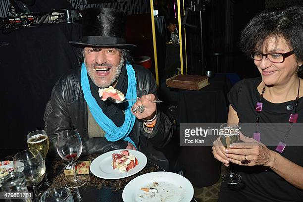 Rachid Taha and Souad Amidou 'Moustache Party' Emmanuel De Brantes Birthday Party At Le Bus Restaurant on March 20 2014 in Paris France