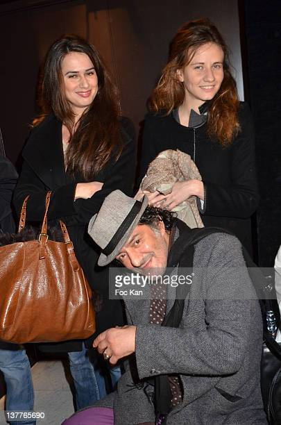 Rachid Taha pose with Claudia and Sabrina Bellino during the Dany Atrache Spring/Summer 2012 HauteCouture Show as part of Paris Fashion Week at Hotel...