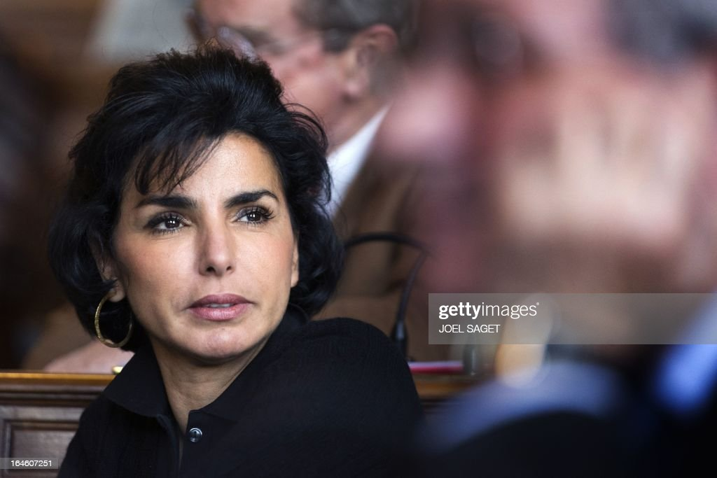 Rachida Dati after taking part in Paris' municipal council to rule on the application for the 2013-2014 schoolyear of a reform law increasing the class time of primary school students, on March 25, 2013, at Paris' city hall. AFP PHOTO /JOEL SAGET