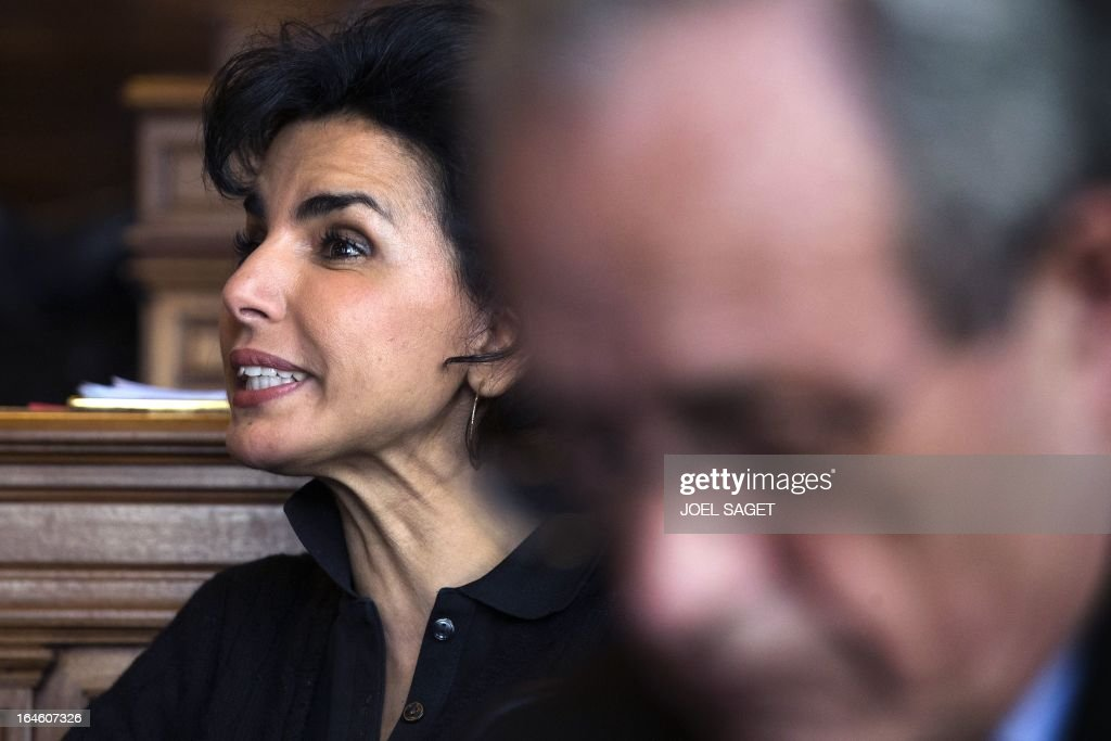 Rachida Dati after taking part in Paris' municipal council to rule on the application for the 2013-2014 schoolyear of a reform law increasing the class time of primary school students, on March 25, 2013, at Paris' city hall.