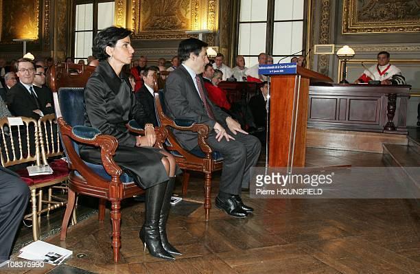 Rachida Dati and Francois Fillon in Paris France on January 11th 2008