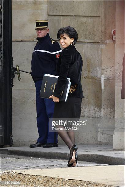 Rachida Dati at the Minister Council 5 days after she gave birth in Paris France on January 07th 2009