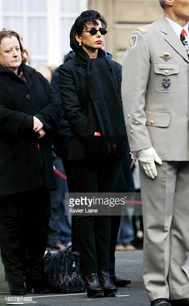 Rachida Dati attends the funerals of two French policemen killed in a Paris car chase at Prefecture de Police on February 26 2013 in Paris France The...