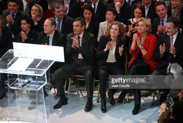 Rachida Dati Philippe Goujon former French Prime Minister Francois Fillon Nathalie KosciuskoMorizet Valerie Pecresse JeanFrancois Legaret attend the...