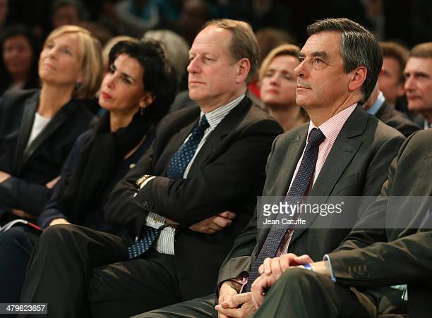 Rachida Dati Philippe Goujon former French Prime Minister Francois Fillon attend the last big meeting before the elections of Paris UMP mayoral...