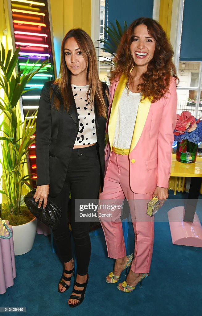 Racil Chalhoub (L) and Fiorina Benveniste Schuler attend a drinks reception and dinner in celebration of the Sabine Getty Showroom in Berkeley Square on June 28, 2016 in London, England.