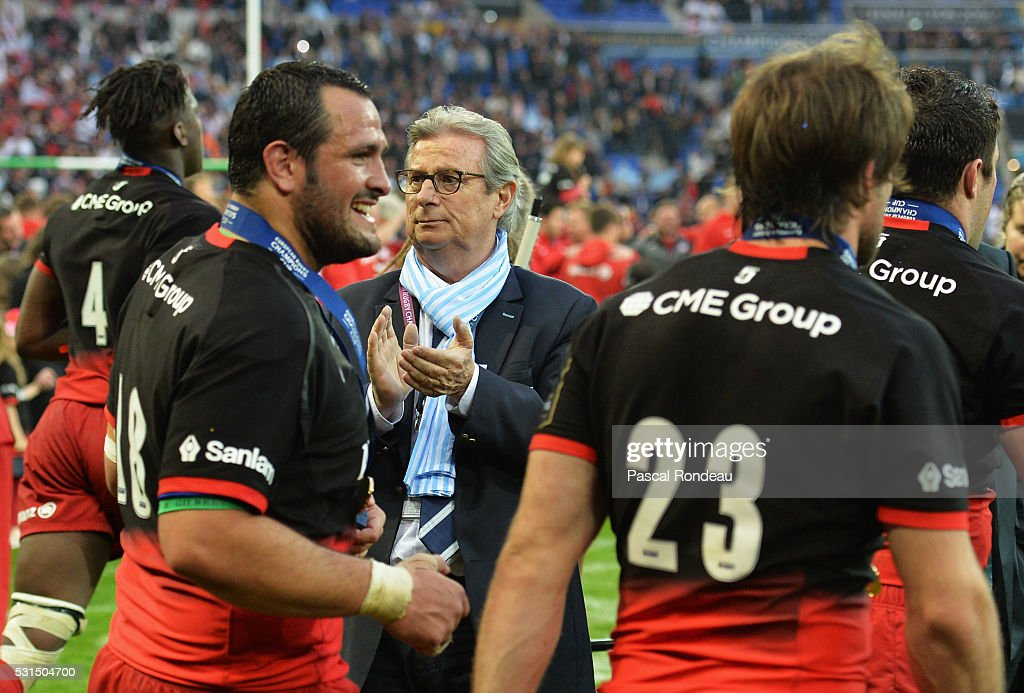 Racing 92 president <a gi-track='captionPersonalityLinkClicked' href=/galleries/search?phrase=Jacky+Lorenzetti&family=editorial&specificpeople=6871513 ng-click='$event.stopPropagation()'>Jacky Lorenzetti</a> deception during the European Rugby Champions Cup Final match between Racing 92 and Saracens at Stade de Lyon on May 14, 2016 in Lyon, France.