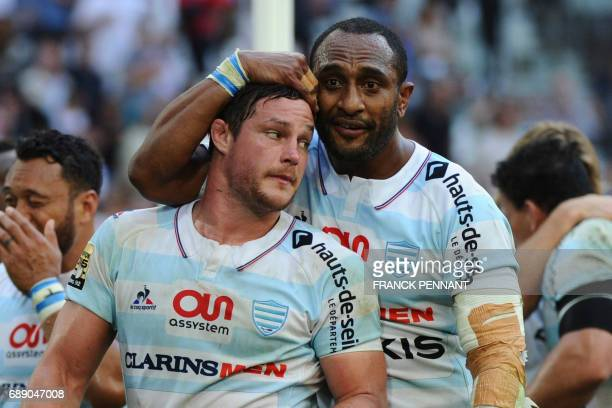 Racing 92' s French center Henry Chavancy and Racing 92 New Zealander winger Joe Rokocoko react at the end of the French Top 14 rugby union semifinal...
